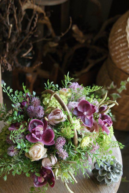 画像1: モーブピンクの花籠 (1)