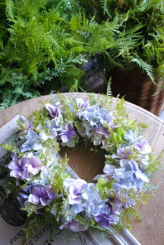 画像1: 紫陽花のグラデーションリース (1)