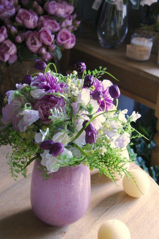 画像1: スイートピーの花束 B 花器付き (1)