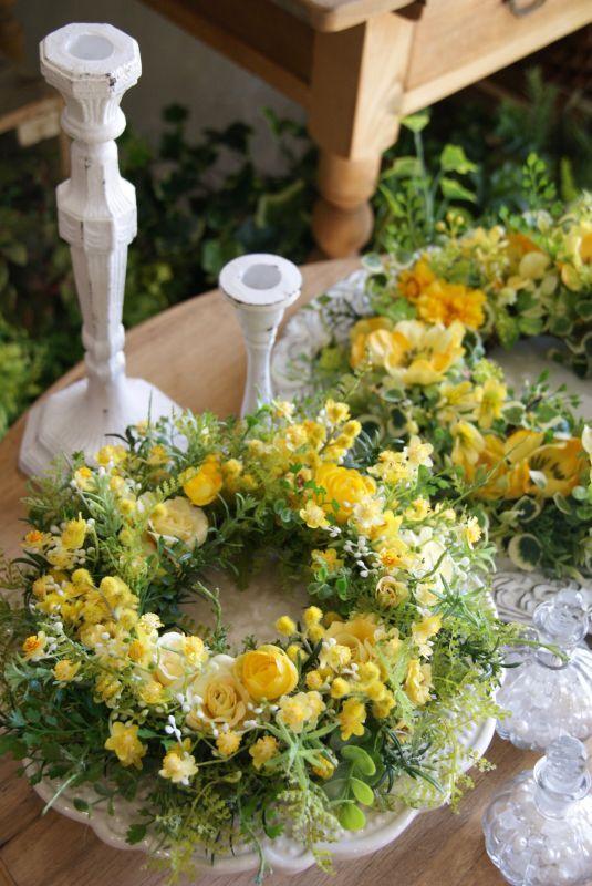 画像1: 黄色の小花リース (1)