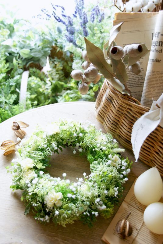 画像1: 白の小花のリース (1)
