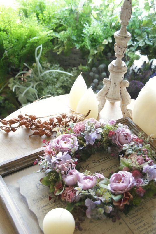 画像1: ロマンティックピンクのリース (1)